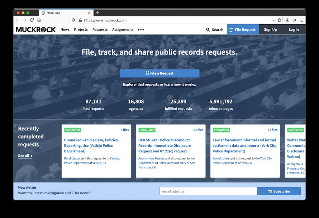 Screenshot of MuckRock website